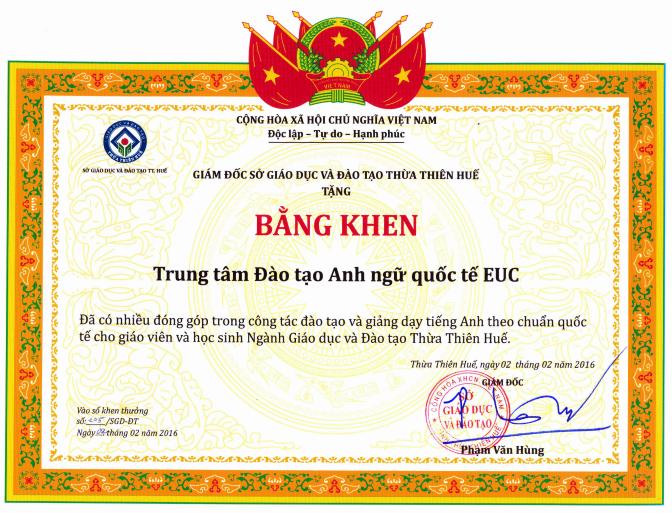 Bang khen EUC